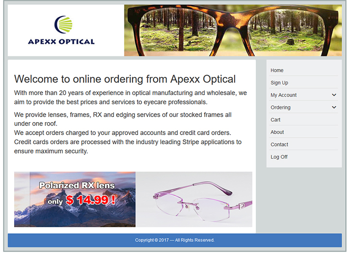 Online ordering from Apexx Optical